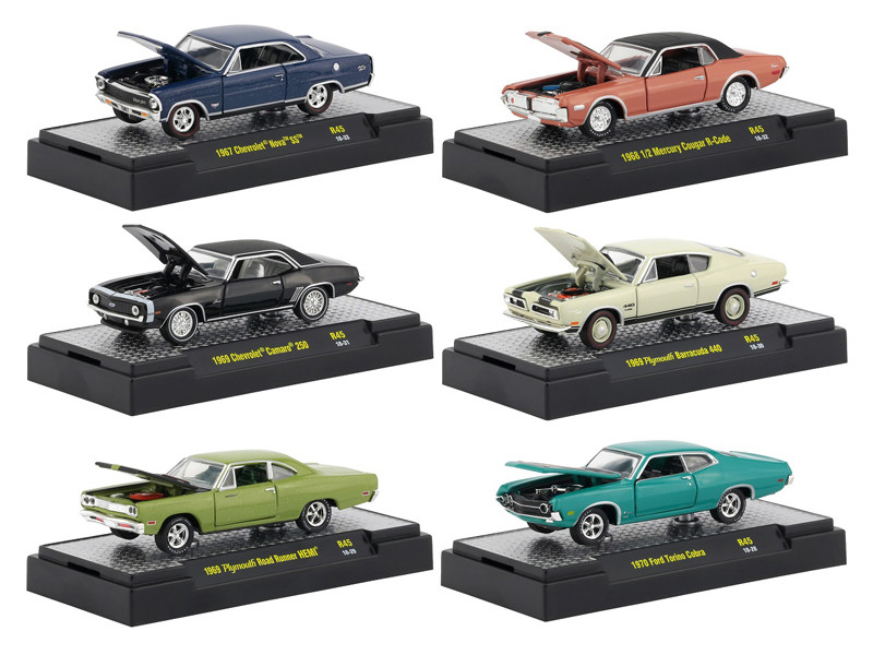 Detroit Muscle 6 Cars Set Release 45 DISPLAY CASES 1/64 Diecast Model Cars M2 Machines 32600-45