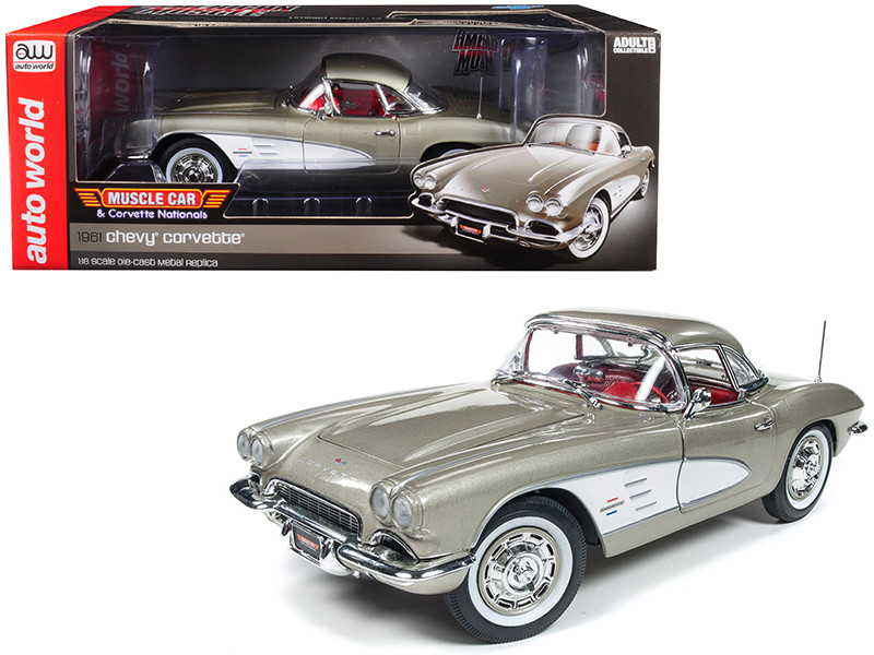 1961 Chevrolet Corvette Hard Top Fawn Beige Muscle Car Corvette Nationals MCACN Limited Edition 1002 pieces Worldwide 1/18 Diecast Model Car Autoworld AMM1151