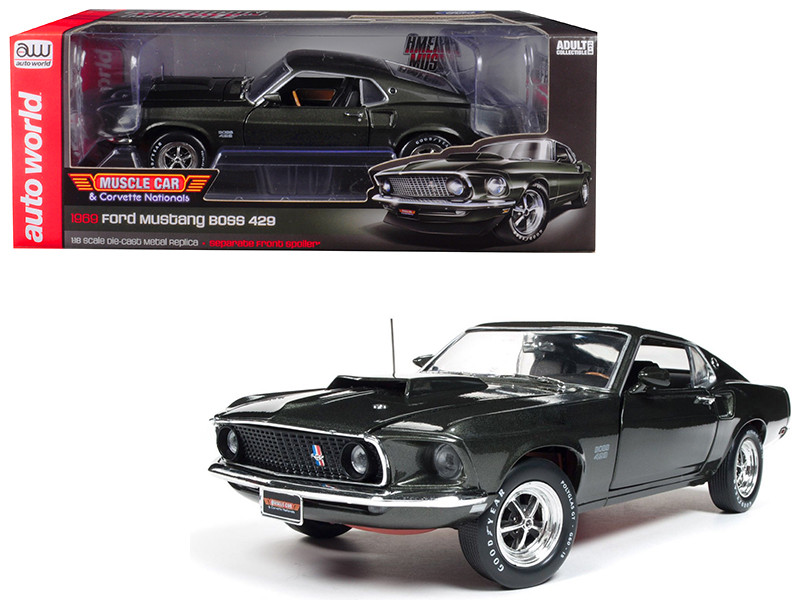 1969 Ford Mustang Boss 429 Black Jade Muscle Car Corvette Nationals MCACN Limited Edition 1002 pieces Worldwide 1/18 Diecast Model Car Autoworld AMM1152