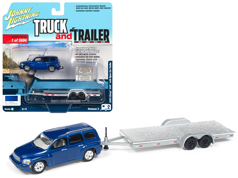 2006 Chevrolet HHR Daytona Blue Chrome Open Car Trailer Limited Edition 3604 pieces Worldwide Truck and Trailer Series 3 1/64 Diecast Model Car Johnny Lightning JLSP035 A