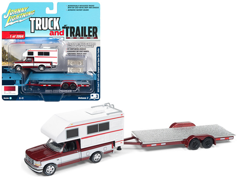 1993 Ford F-150 Red White Camper Chrome Open Car Trailer Limited Edition 3964 pieces Worldwide Truck and Trailer Series 3 1/64 Diecast Model Car Johnny Lightning JLSP036 A