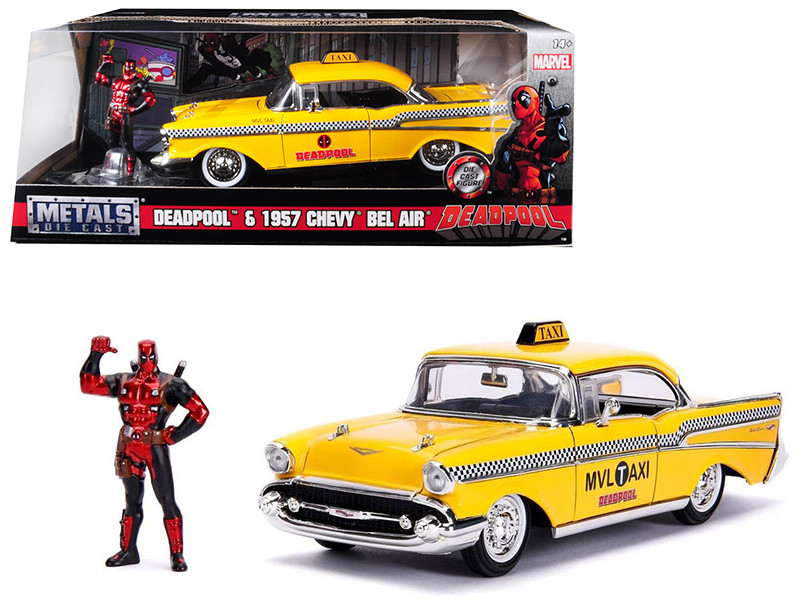 1957 Chevrolet Bel Air Taxi Yellow Deadpool Diecast Figure Marvel Series 1/24 Diecast Model Car Jada 30290