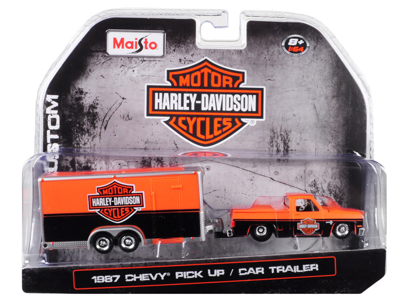 1987 Chevrolet Pickup Truck Enclosed Car Trailer Orange Black Harley Davidson 1/64 Diecast Model Car Maisto 15363-HD1