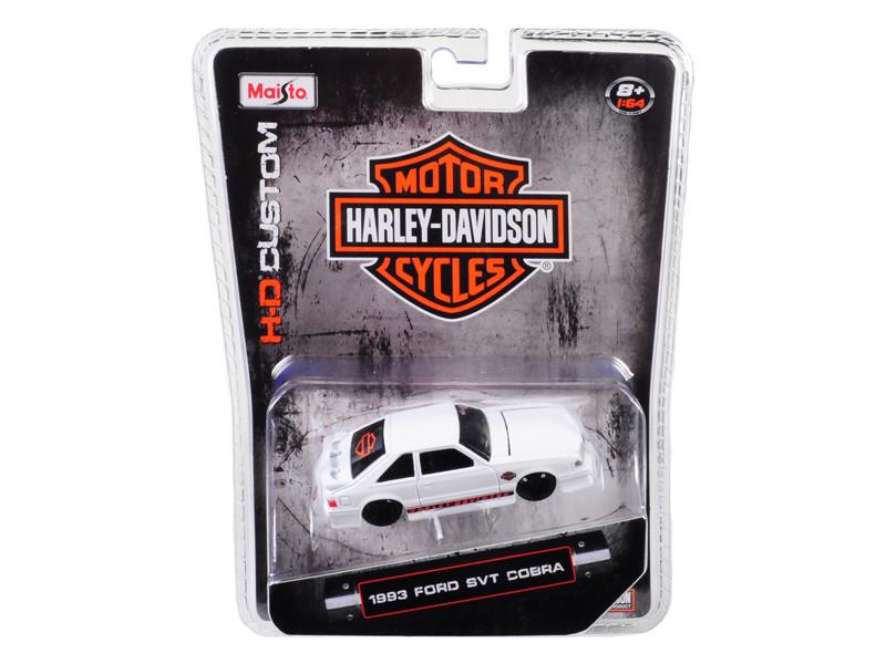 1993 Ford SVT Cobra White Harley Davidson 1/64 Diecast Model Car Maisto 15414-HD1