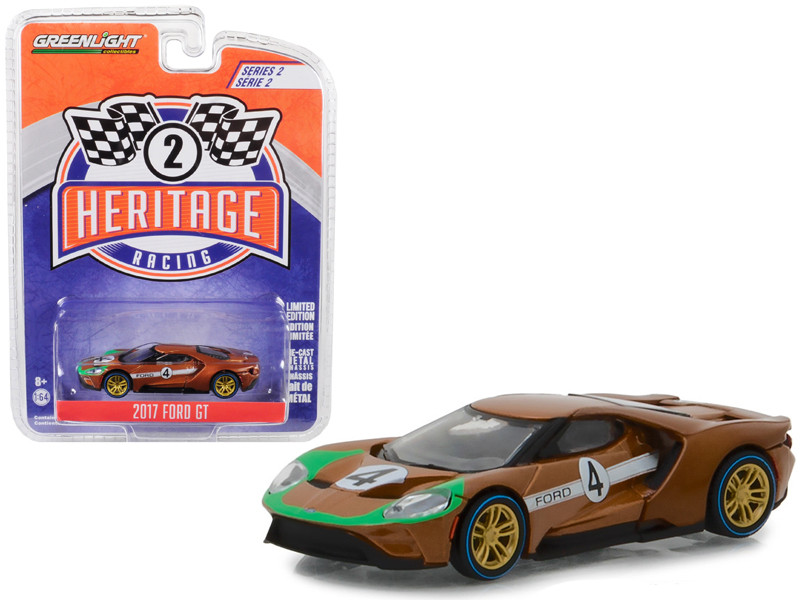 2017 Ford GT #4 Tribute 1966 Ford GT40 Mk II Brown Ford Racing Heritage Series 2 1/64 Diecast Model Car Greenlight 13220 A