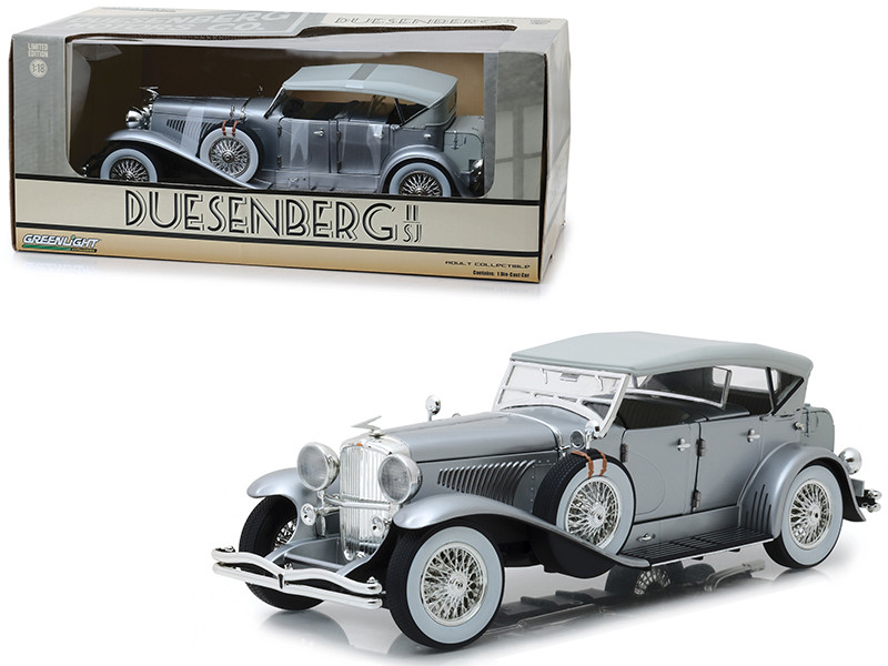 Duesenberg II SJ Silver 1/18 Diecast Model Car Greenlight 13525