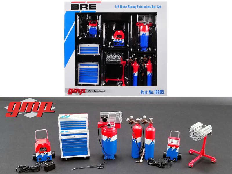 6 piece Garage Shop Tools Set #1 Brock Racing Enterprises BRE 1/18 Diecast Replica GMP 18905