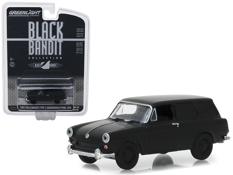 1965 Volkswagen Type 3 Squareback Panel Van Black Bandit Series 20 1/64 Diecast Model Car Greenlight 27960 A