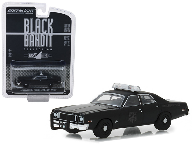 1975 Plymouth Fury Black Bandit Police Black Bandit Series 20 1/43 Diecast Model Car Greenlight 27960 D
