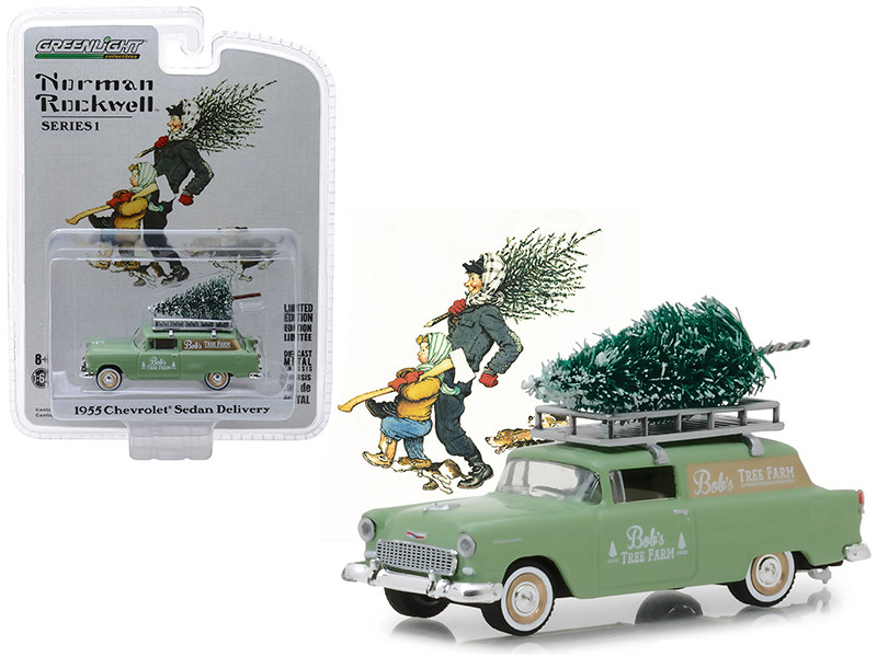 1955 Chevrolet Sedan Delivery Light Green Bob's Tree Farm Christmas Tree Norman Rockwell Delivery Vehicles Series 1 1/64 Diecast Model Greenlight 37150 B
