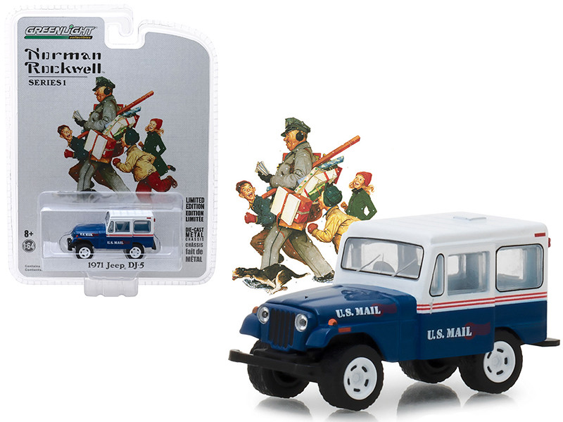 1971 Jeep DJ-5 Blue White Top US Mail Norman Rockwell Delivery Vehicles Series 1 1/64 Diecast Model Car Greenlight 37150 C