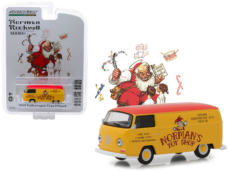 1969 Volkswagen Type 2 Panel Van Yellow Red Top Norman's Toy Shop Norman Rockwell Delivery Vehicles Series 1 1/64 Diecast Model Greenlight 37150 D