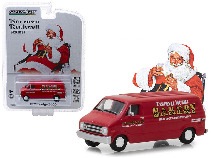 1977 Dodge B100 Van Percevel Mobile Bakery Red Norman Rockwell Delivery Vehicles Series 1 1/64 Diecast Model Greenlight 37150 E