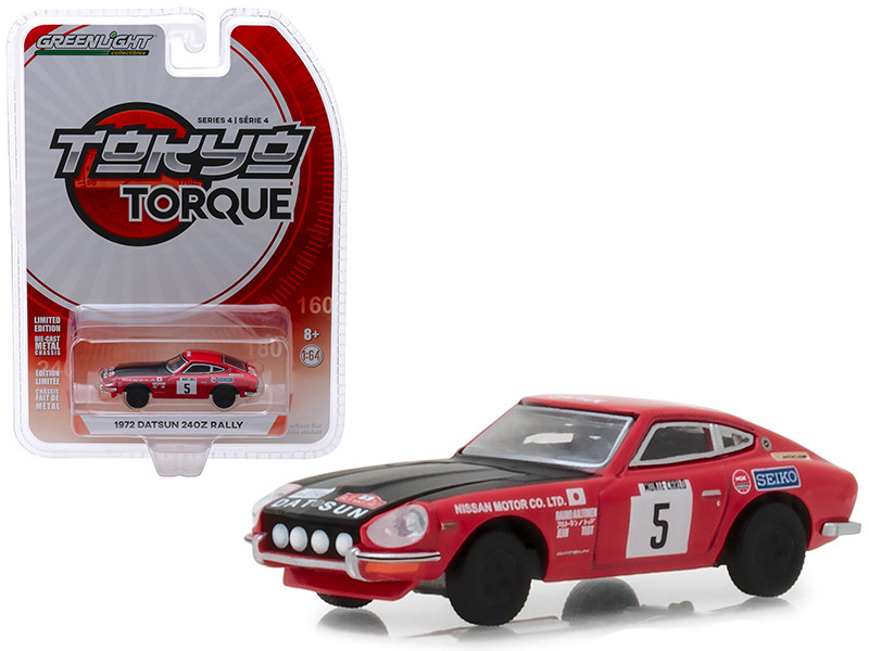 1972 Datsun 240Z #5 Red Black Hood Nissan Motor Co Ltd Monte Carlo Rally Tokyo Torque Series 4 1/64 Diecast Model Car Greenlight 47020 D