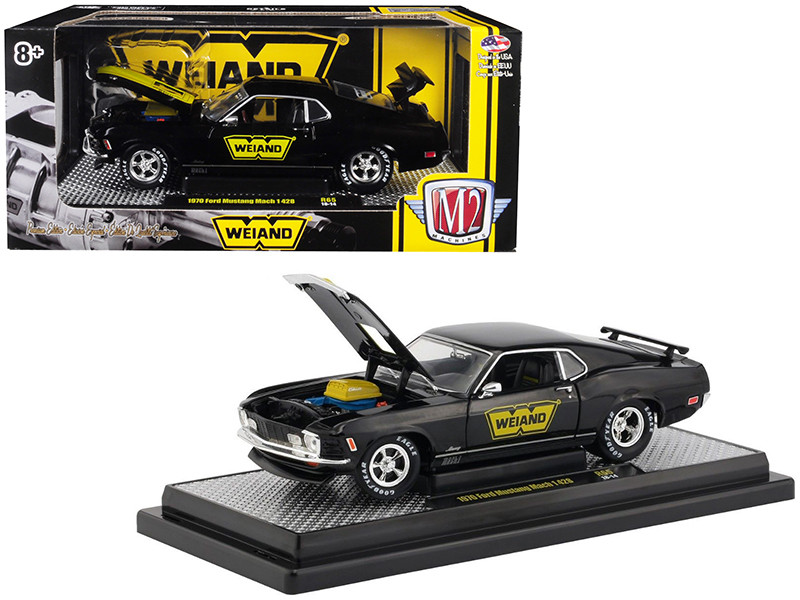 1970 Ford Mustang Mach 1 428 Weiand Gloss Black Yellow Stripe Detroit Muscle Limited Edition 5800 pieces Worldwide 1/24 Diecast Model Car M2 Machines 40300-65 B