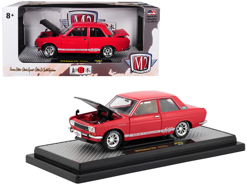 1970 Datsun 510 Red White Stripes Black Hood Auto Japan Limited Edition 5800 pieces Worldwide 1/24 Diecast Model Car M2 Machines 40300-JPN02 A