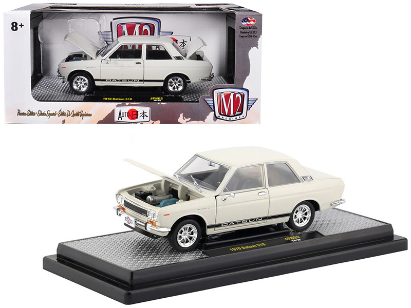 1970 Datsun 510 White Black Stripes Auto Japan Limited Edition 5800 pieces Worldwide 1/24 Diecast Model Car M2 Machines 40300-JPN02 B