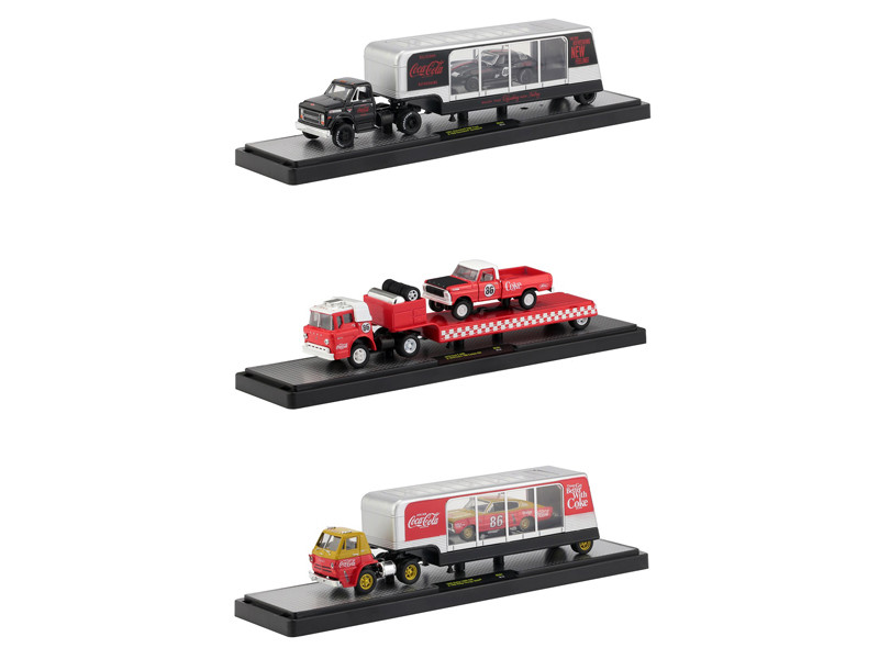 Auto Haulers Race Version Coca Cola Release Set 3 Trucks 1/64 Diecast Models M2 Machines 56000-RC01