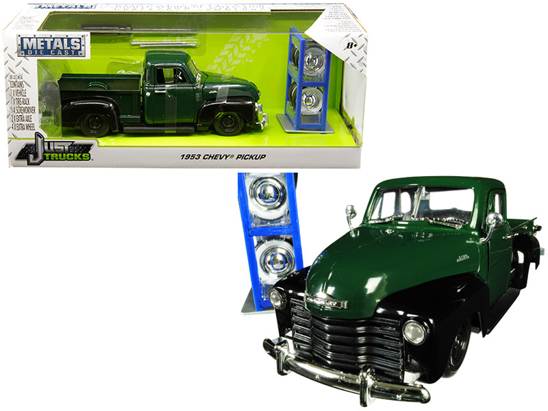 1953 Chevrolet 3100 Pickup Truck Green Extra Wheels Just Trucks Series 1/24 Diecast Model Car Jada 30521