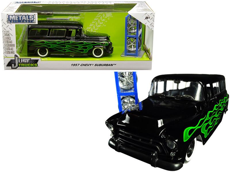 1957 Chevrolet Suburban Black Green Flames Extra Wheels Just Trucks Series 1/24 Diecast Model Car Jada 97821