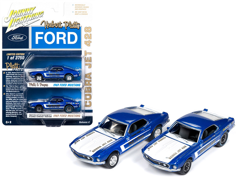 1969 Ford Mustang Cobra Jet 428 Platt Payne 1969 Ford Mustang Cobra Jet 428 Hubert Platt Ford Drag Team 2 piece Set Limited Edition 3750 pieces Worldwide 1/64 Diecast Model Cars Johnny Lightning JLPK005