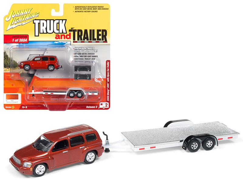 2006 Chevrolet HHR Daytona Metallic Orange Chrome Open Car Trailer Limited Edition 3604 pieces Worldwide Truck and Trailer Series 3 1/64 Diecast Model Car Johnny Lightning JLSP035 B
