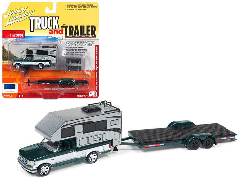 "1993 Ford F-150 Metallic Green with Silver Camper and Chrome Open Car Trailer Limited Edition to 3,964 pieces Worldwide ""Truck and Trailer"" Series 3 1/64 Diecast Model Car by Johnny Lightning"