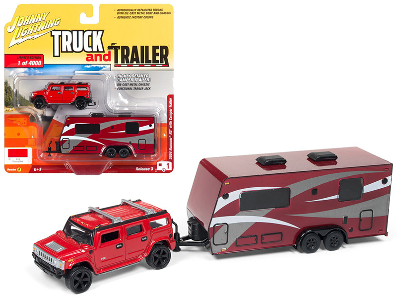 2004 Hummer H2 Red Dark Red Camper Trailer Limited Edition 4000 pieces Worldwide Truck and Trailer Series 3 1/64 Diecast Model Car Johnny Lightning JLSP037 B
