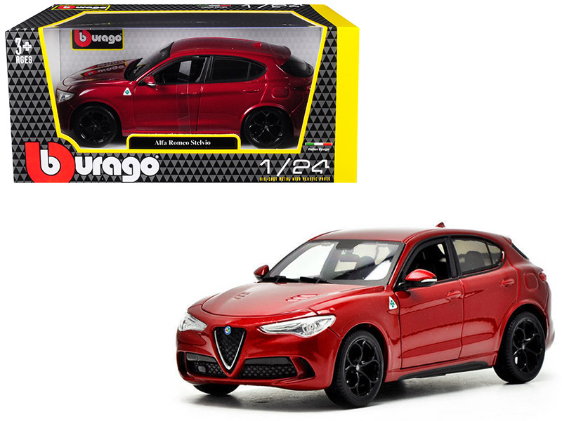 Alfa Romeo Stelvio Quadrifoglio Red 1/24 Diecast Model Car Bburago 21086
