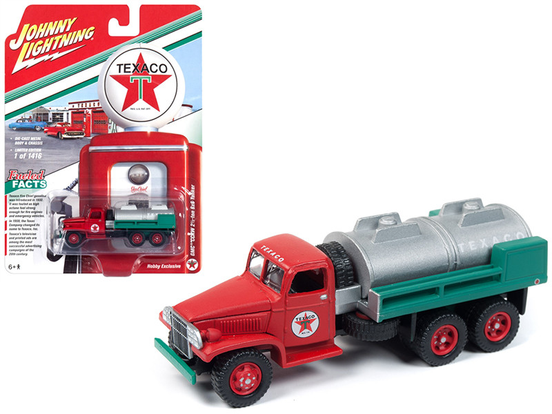 GMC CCKW 2 1/2 ton 6x6 Tanker Truck Texaco Limited Edition 1416 pieces Worldwide 1/87 Diecast Model Johnny Lightning JLSP057