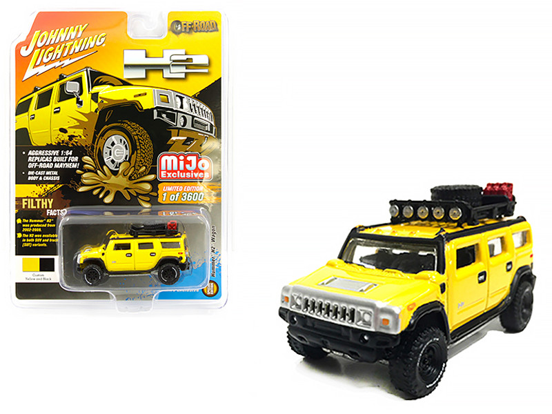Hummer H2 Wagon Roof Rack Accessories Yellow Off Road Limited Edition 3600 pieces Worldwide 1/64 Diecast Model Car Johnny Lightning JLCP7156