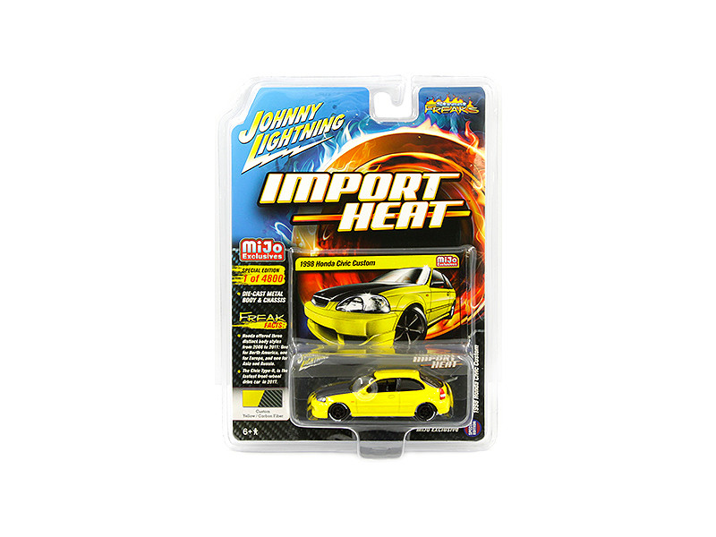 1998 Honda Civic Custom Yellow Carbon Hood Street Freaks Series Limited Edition 4800 pieces Worldwide 1/64 Diecast Model Car Johnny Lightning JLCP7174