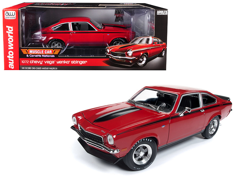 1972 Chevrolet Vega Yenko Stinger MCACN Man O War Red Black Stripes Limited Edition 1/18 Diecast Model Car Autoworld AMM1156