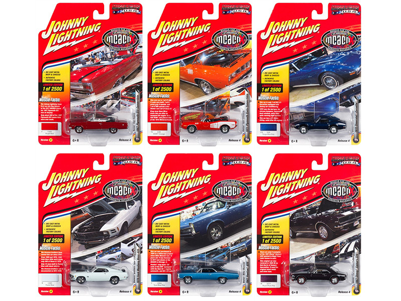 Muscle Cars USA 2018 Release 4, Set A of 6 Cars 1/64 Diecast Models by Johnny Lightning
