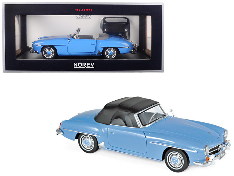 1957 Mercedes Benz 190 SL Cabriolet Blue 1/18 Diecast Model Car Norev 183400