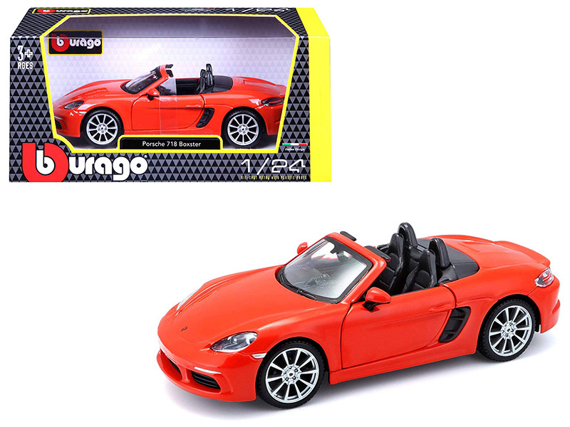 Porsche 718 Boxster Orange 1/24 Diecast Model Car Bburago 21087