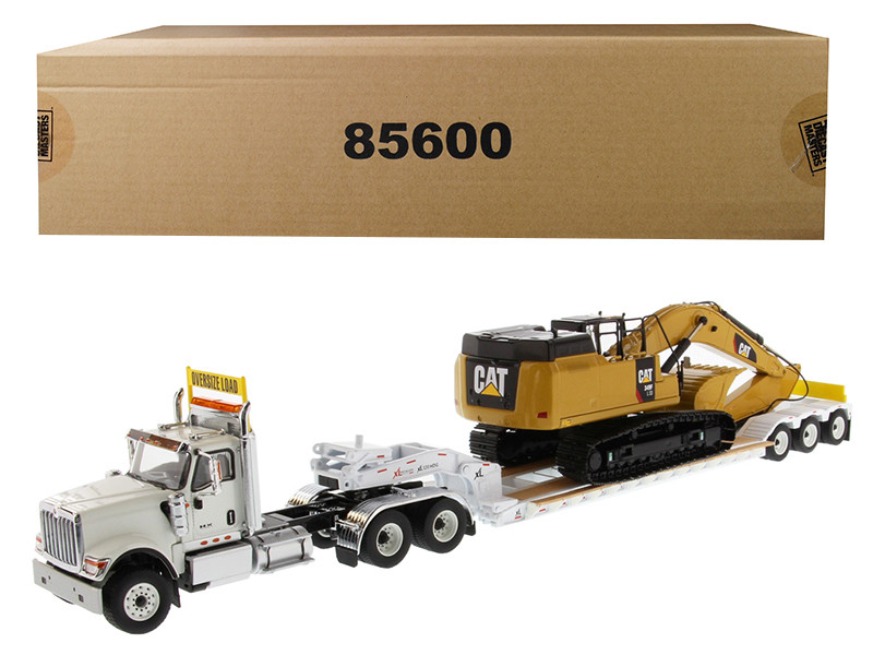 International HX520 Tandem Tractor White XL 120 Lowboy Trailer CAT Caterpillar 349F L XE Hydraulic Excavator Set 2 pieces 1/50 Diecast Models Diecast Masters 85600