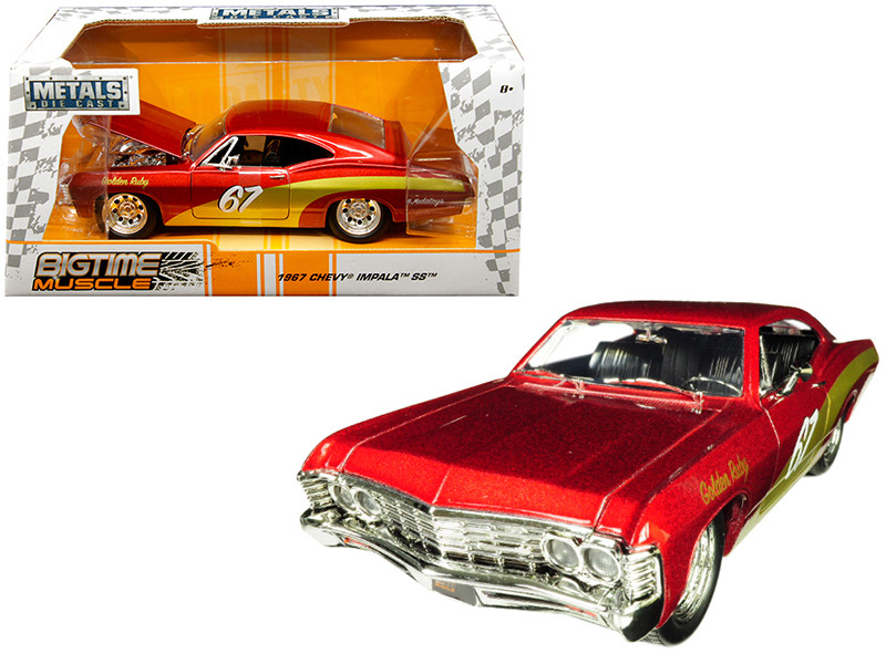 1967 Chevrolet Impala SS #67 Golden Ruby Red Gold Stripes Bigtime Muscle 1/24 Diecast Model Car Jada 30529