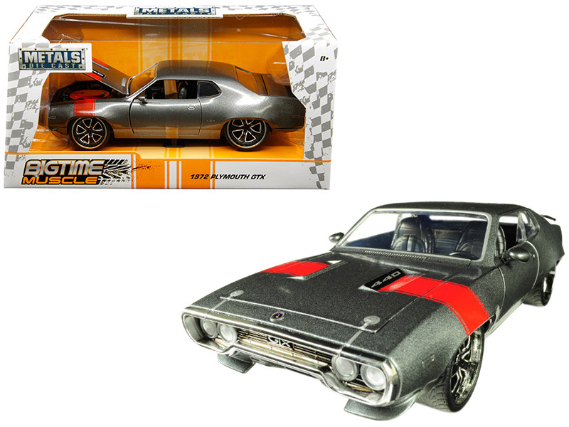 1972 Plymouth GTX 440 Metallic Gray Red Stripe Bigtime Muscle 1/24 Diecast Model Car Jada 30530