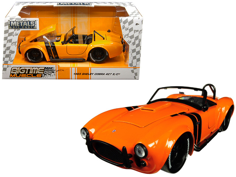 1965 Shelby Cobra 427 S/C Orange Black Stripes Bigtime Muscle 1/24 Diecast Model Car Jada 30531