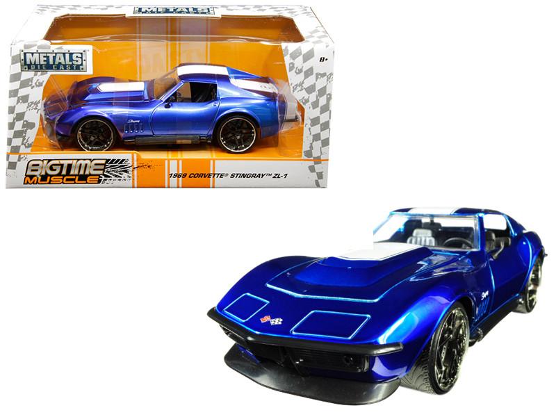 1969 Chevrolet Corvette Stingray ZL-21 Blue White Stripe Bigtime Muscle 1/24 Diecast Model Car Jada 30532