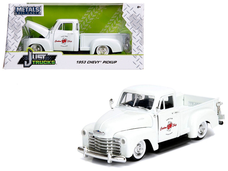 1953 Chevrolet 3100 Pickup Truck White Custom Shop Classic Truck Las Vegas Nevada Just Trucks Series 1/24 Diecast Model Car Jada 99177