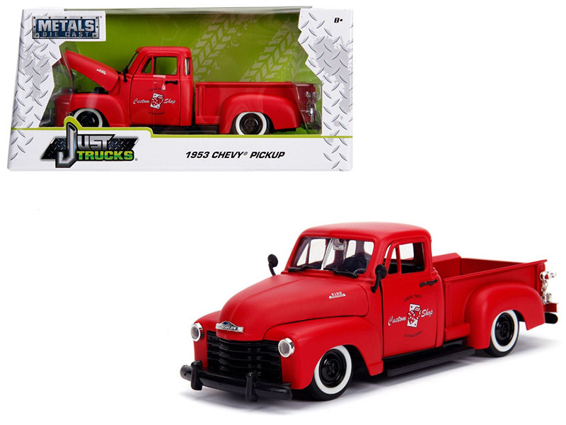 1953 Chevrolet 3100 Pickup Truck Matt Red Custom Shop Classic Truck Las Vegas Nevada Just Trucks Series 1/24 Diecast Model Car Jada 99178