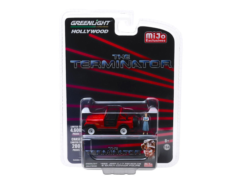 1983 Jeep CJ-7 Renegade Red Sarah Connor Figure The Terminator 1984 Movie Limited Edition 4600 pieces Worldwide 1/64 Diecast Model Car Greenlight 51211