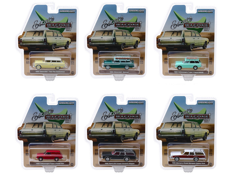 Estate Wagons Series 2 Set 6 Cars 1/64 Diecast Models Greenlight 29930