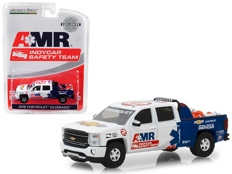 2018 Chevrolet Silverado Pickup Truck AMR IndyCar Safety Team Safety Equipment Truck Bed Hobby Exclusive 1/64 Diecast Model Car Greenlight 29991