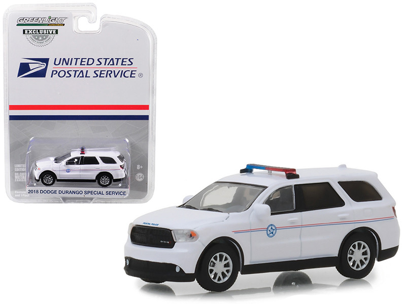 2018 Dodge Durango Special Service USPS United States Postal Service Postal Police White Hobby Exclusive 1/64 Diecast Model Car Greenlight 29993
