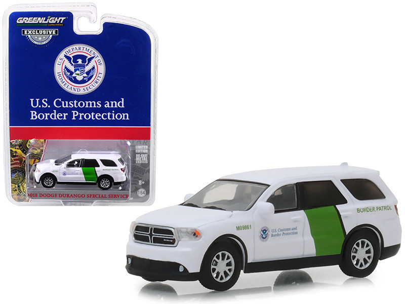 2018 Dodge Durango Special Service US Customs Border Protection Border Patrol White Hobby Exclusive 1/64 Diecast Model Car Greenlight 29994