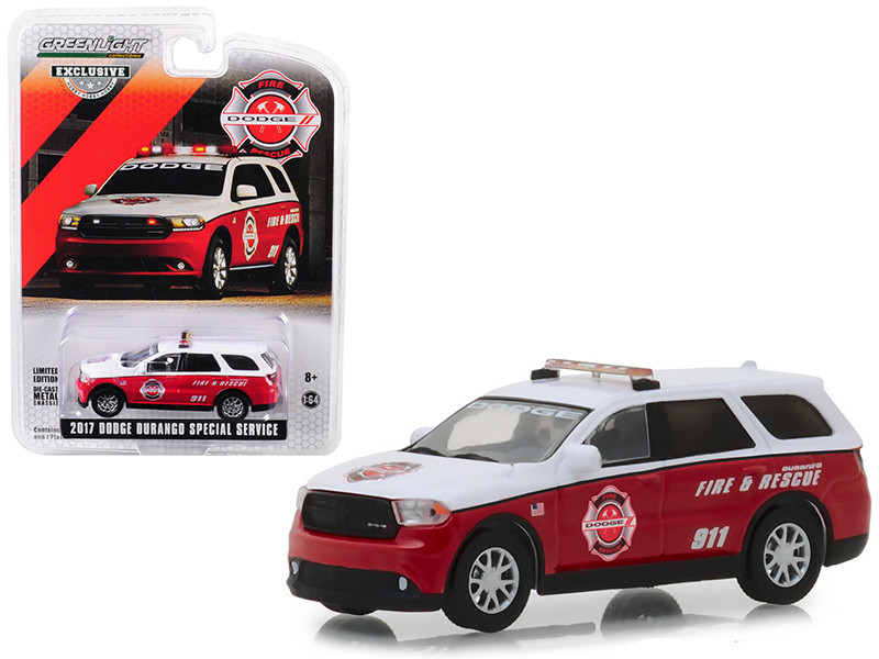 2017 Dodge Durango Special Service 911 Dodge Fire Rescue White Red Hobby Exclusive 1/64 Diecast Model Car Greenlight 29996