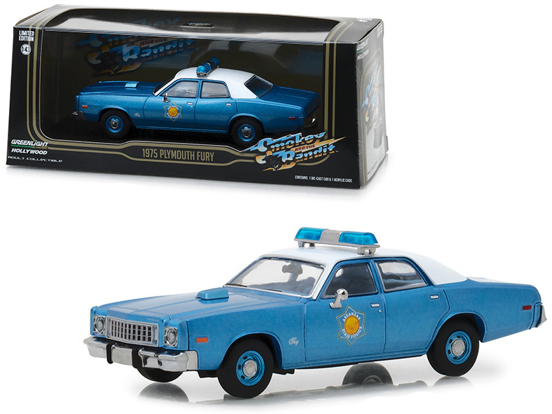 1975 Plymouth Fury Arkansas State Police Smokey the Bandit 1977 Movie Blue White Top 1/43 Diecast Model Car Greenlight 86536